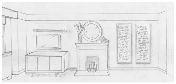 Interior Design New York NYC Joe Cangelosi UWS 1 Bedroom Living Room Wall Sketch