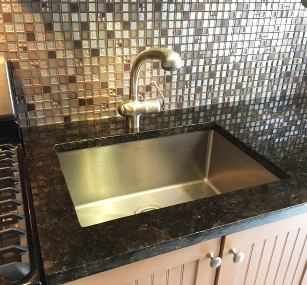 Interior Design New York NYC Joe Cangelosi West Village Vacation House Kitchen Sink Glass Backsplash