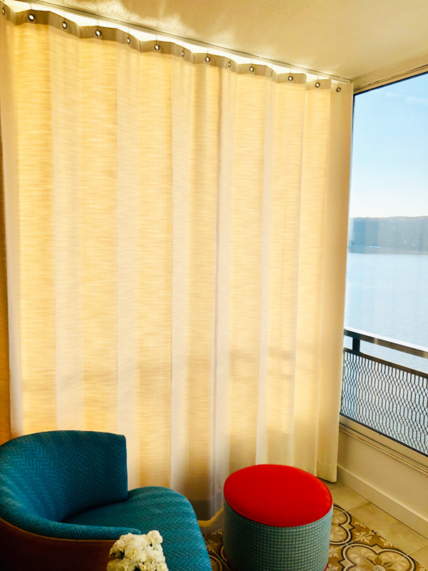 Interior Design New York Joe Cangelosi Modern Colorful Apartment NYC Balcony Outdoor Drapes