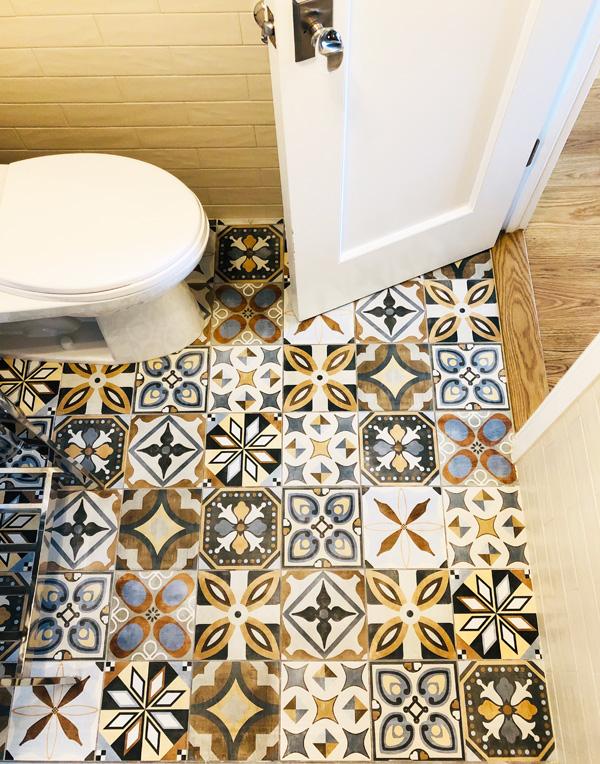 Interior Design New York Joe Cangelosi Modern Colorful Apartment NYC Bathroom Floor Tile