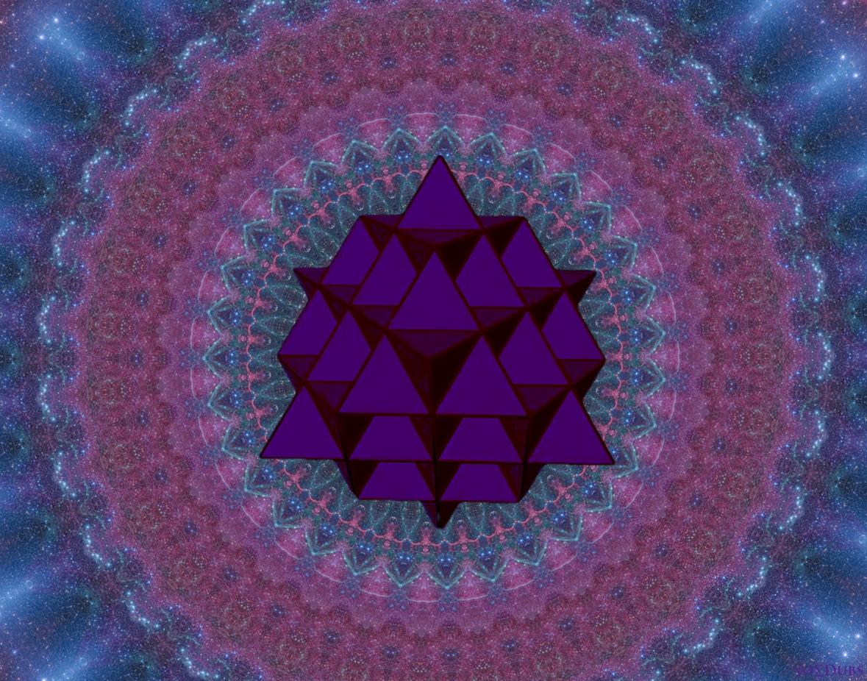64 Tetrahedron Grid with Purple