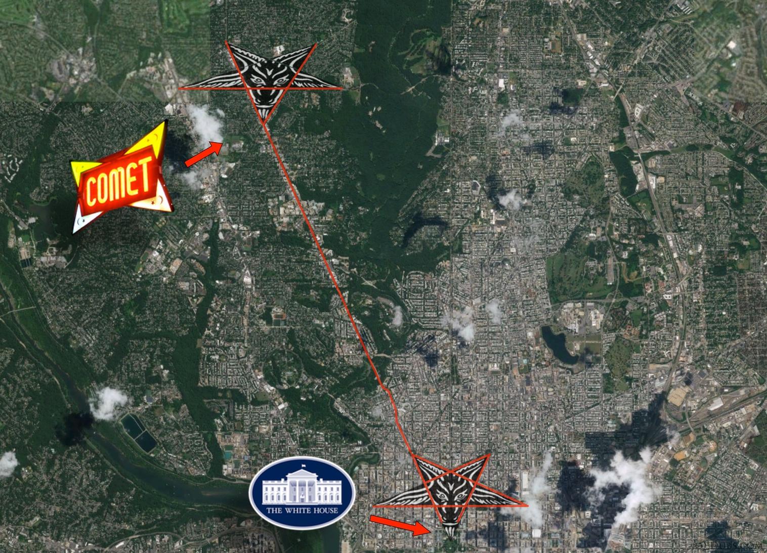 The Ping Pong Pizza Pentagram - Washington dc street map hidden symbols