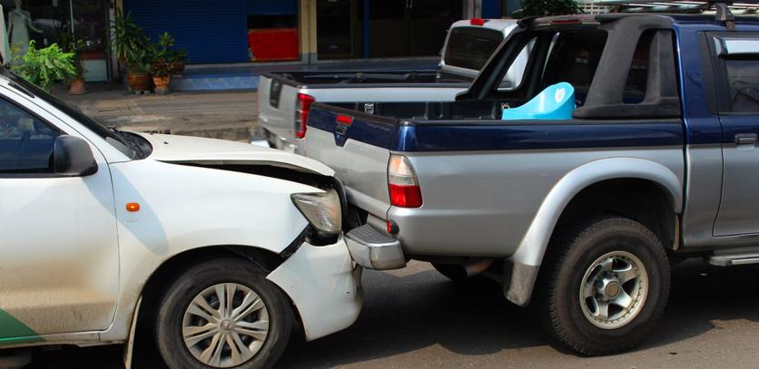 This image shows a rear-end car accident.