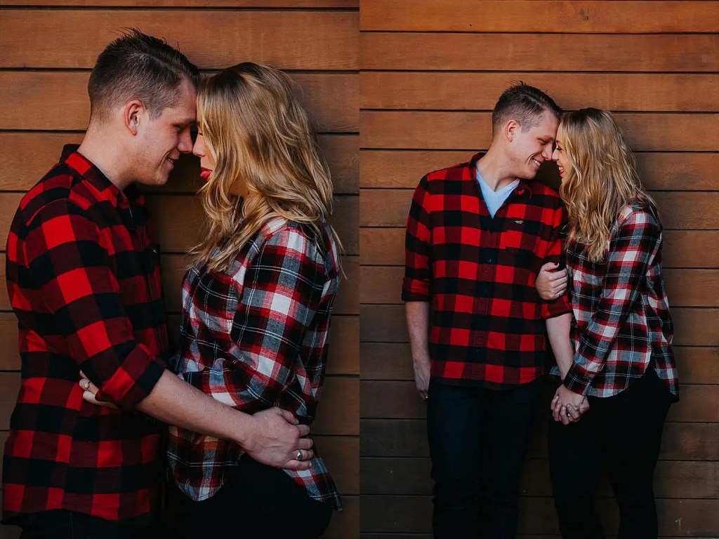 an engaged couple at home in front of the pool house during their Toronto Forest Engagement