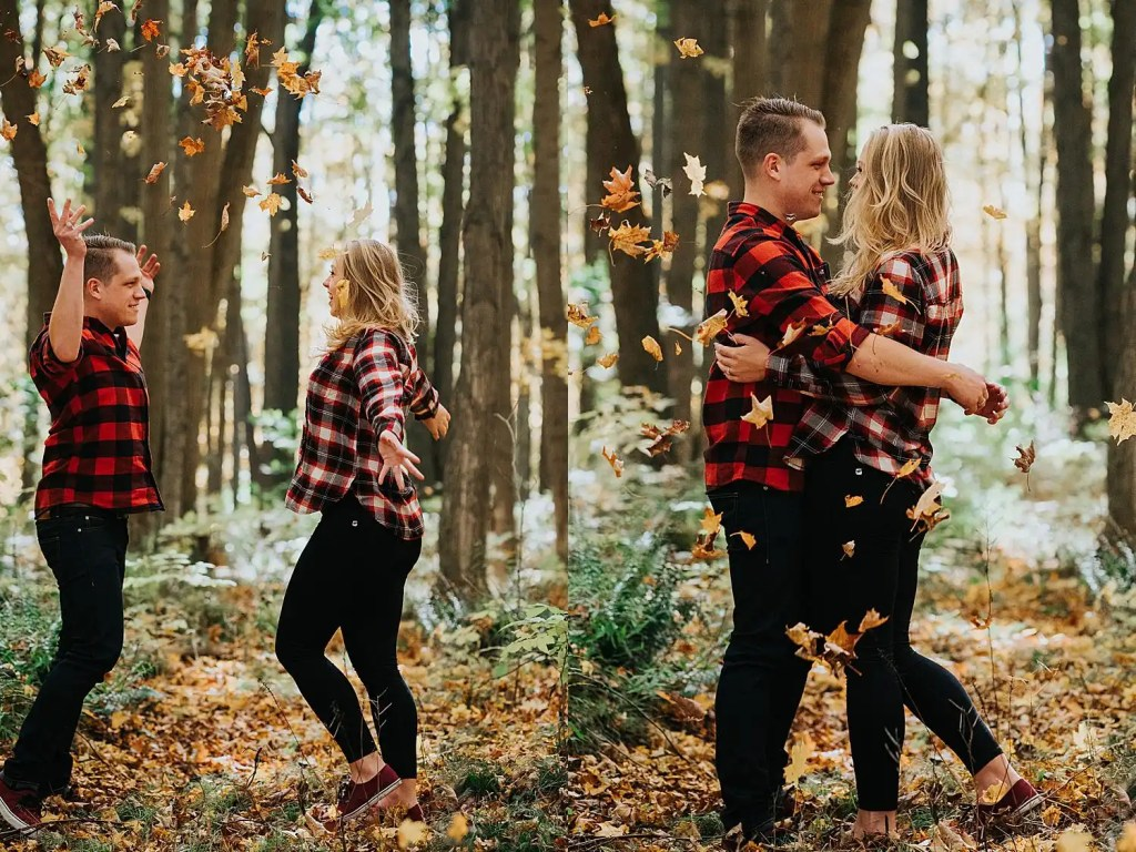 a couple dancing on a pathway in the woods