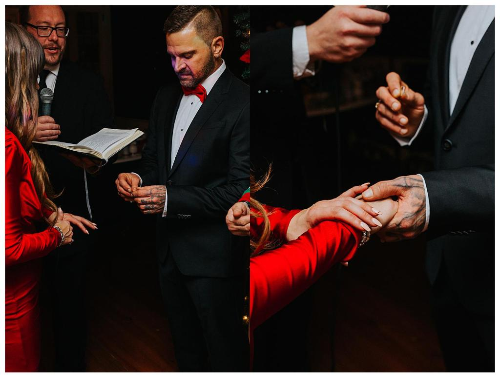 Bride and groom exchanging rings at their nontraditional Cambridge Christmas Elopement