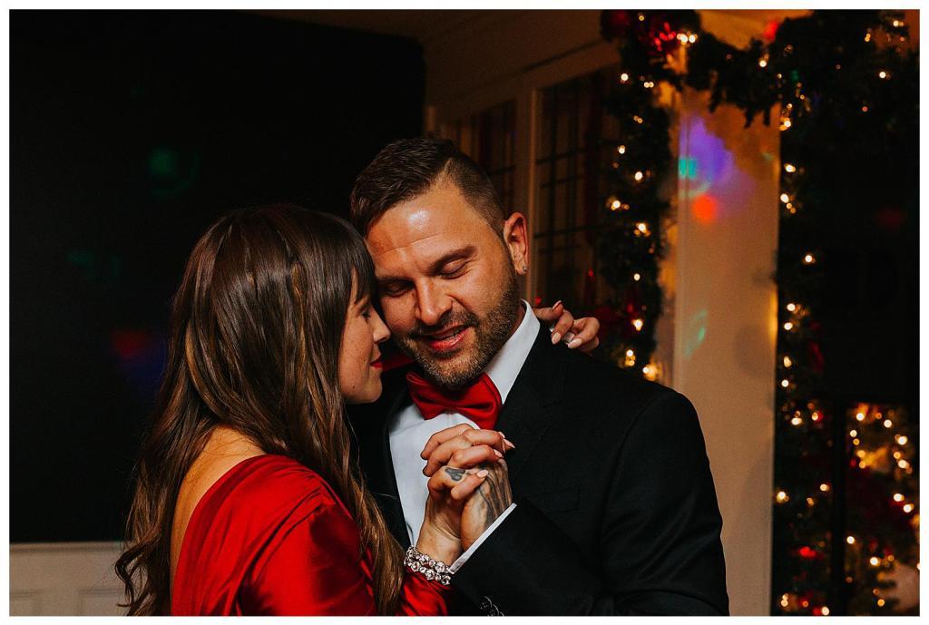 Bride and Groom first dance Cambridge Christmas Elopement Wedding Photographers