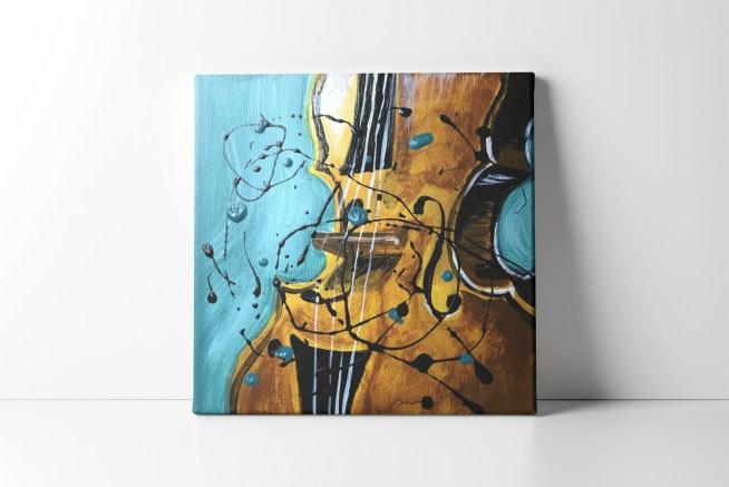 Teal Violin Silhouette Canvas Print