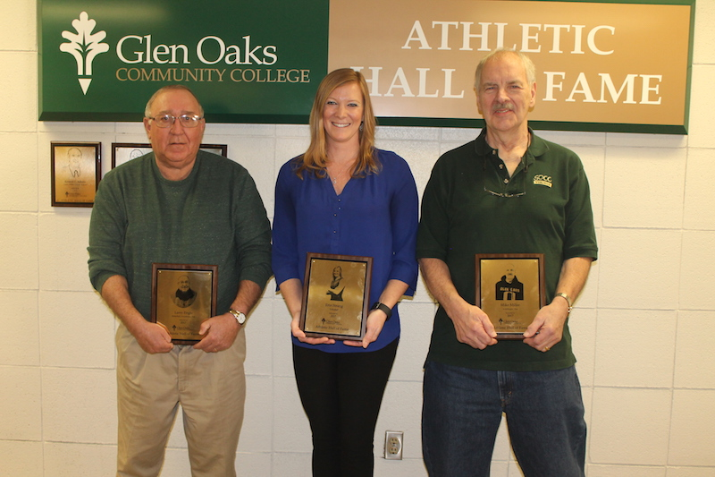 Erin Strang, Larry Engle and Mike Miller this year's Glen Oaks Community College Athletic Hall of Fame inductees