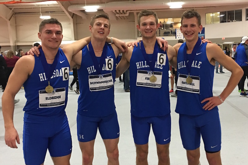 Three Rivers alum Nate Eldridge helps Hillsdale College win medley relay title at GLIAC Indoor Track & Field Championships