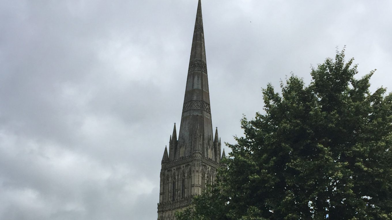The steeple of Salisbury Cathedral.