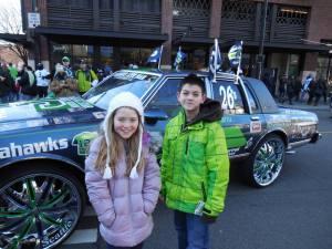 Jackie and Makaya at Superbowl Parade February 5 2014
