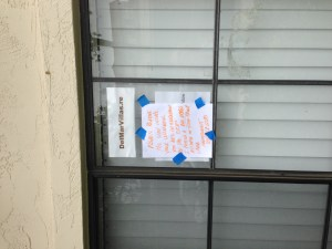 Del Mar Villas Management Notice Taped on Bedroom Window