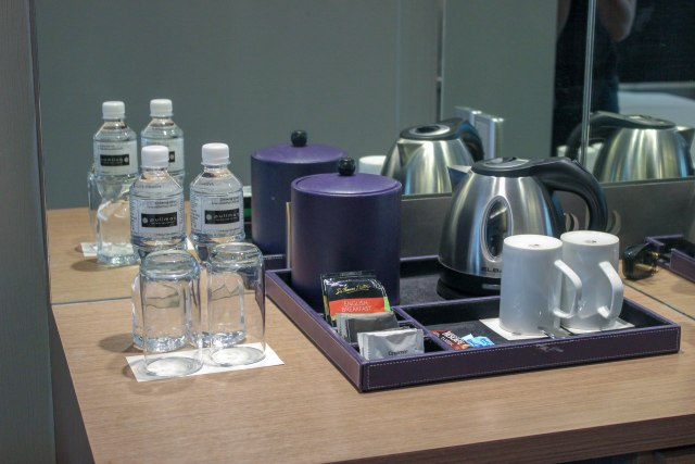 Complimentary bottled water, coffee and tea
