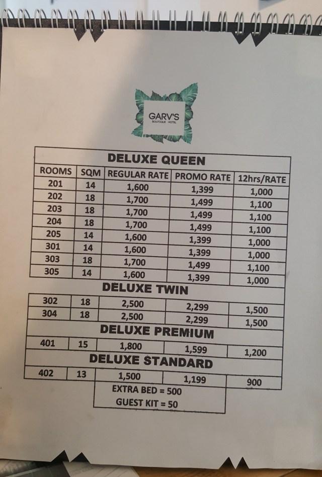 GARV'S Boutique Hotel Room Rates