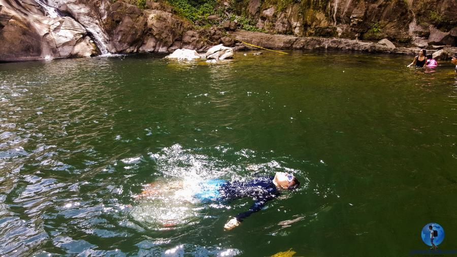 Swimming in Tangadan Falls, San Gabriel, La Union
