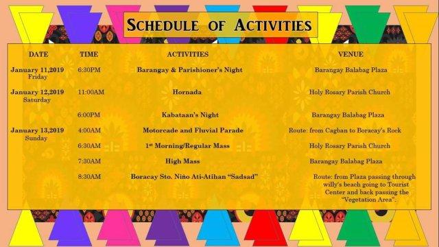 Boracay Ati-Atihan 2019 Schedule of Activities 1