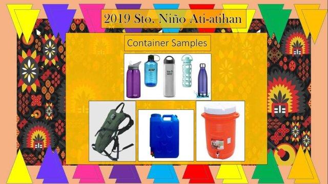 Boracay Ati-Atihan 2019 Allowed Container Samples