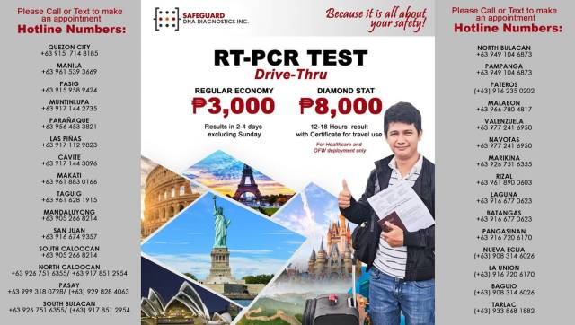 Get RT-PCR Test for 4000 pesos and below