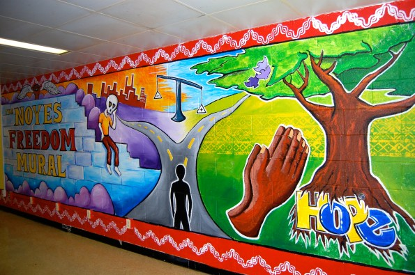 Maryland, 2011: Mural designed and painted by the inmates a the Noyes juvenile detention center in Maryland. With Class Acts Art