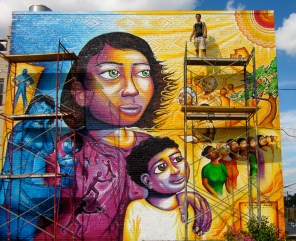 """This piece, """"A Survivor's Journey,"""" was designed based on the life stories of survivors of domestic violence who lived in a halfway house run by the District Alliance for Safe Housing."""