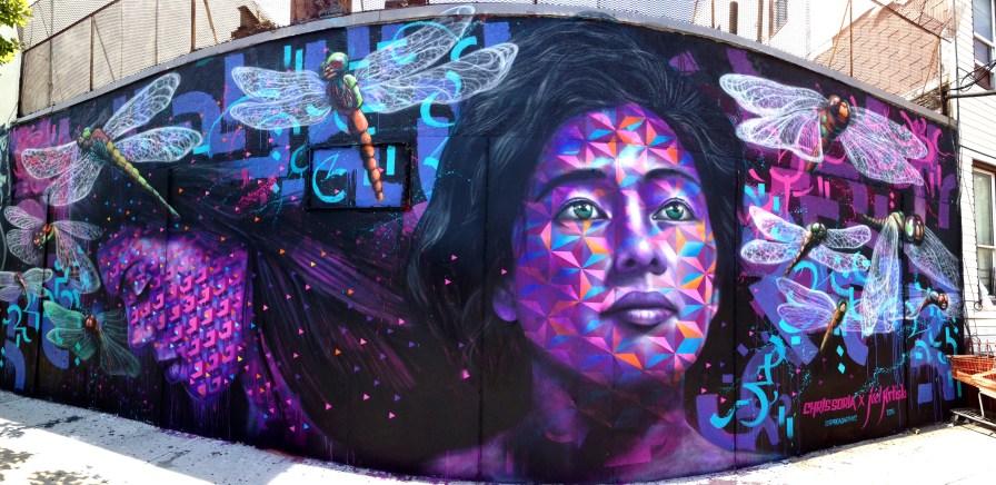 "Brooklyn, NY 2015: ""Ix Chel's Dream"" was a collaboration with Chris Soria on Harman St. in Bushwick. Organized by Spread Art NYC."