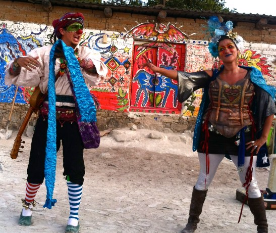 Theatrical performance in a Huichol village in the remote mountains of Jalisco.