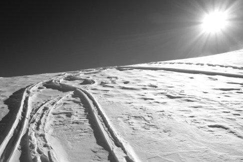 Wind affected snow below Tour Ronde
