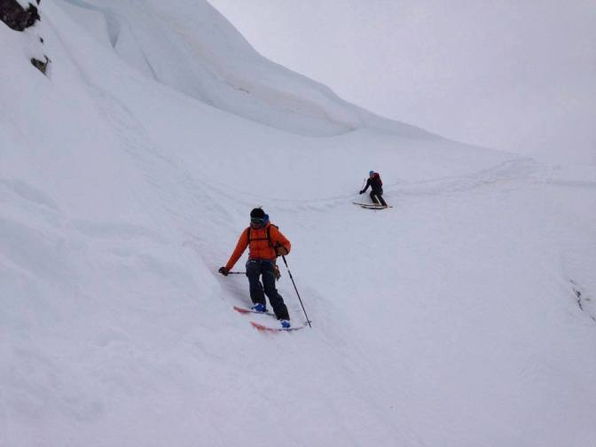 Making my way down to the couloir with Mikko behind