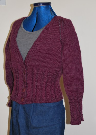 purple cardigan hand knitted by me