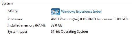 Installed System RAM