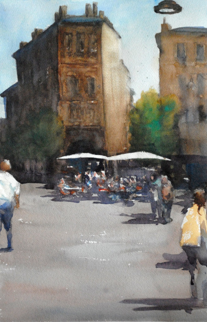 Bordeaux - cailhau_cote_bar, aquarelle de joel Tenzin, watercolor Joel Tenzin