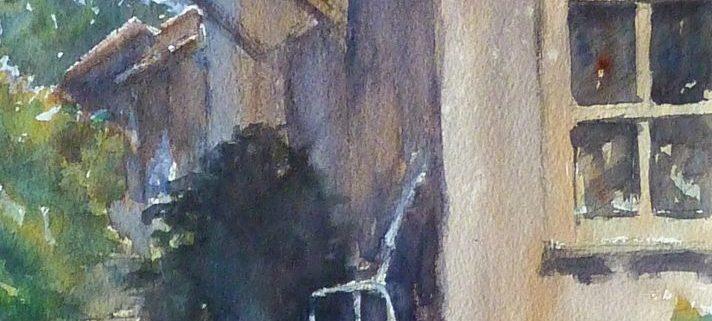 une cabanne à l'herbe, aquarelle de joel Tenzin