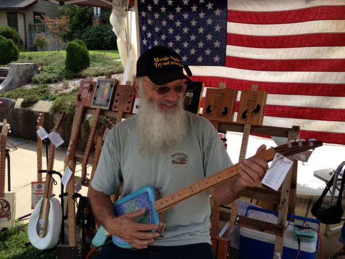 Rotten Roger with one of his Cigar Box Guitars.