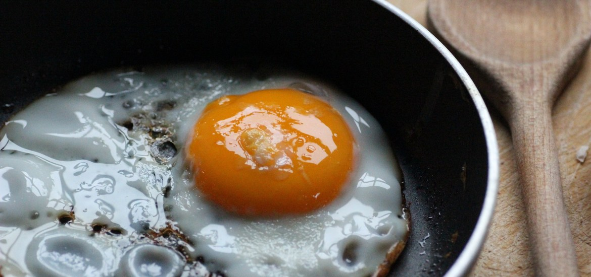 Eggs, fried in coconut oil, make for an excellent ketosis friendly breakfast!