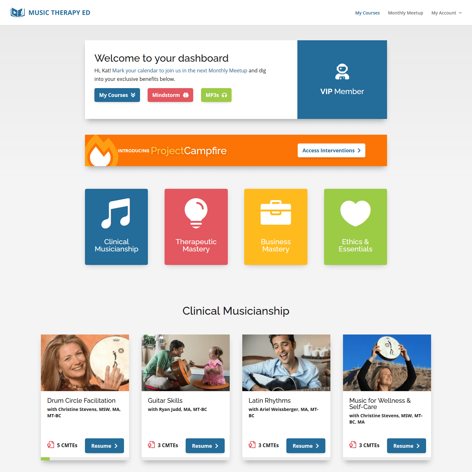 Music Therapy Ed VIP dashboard