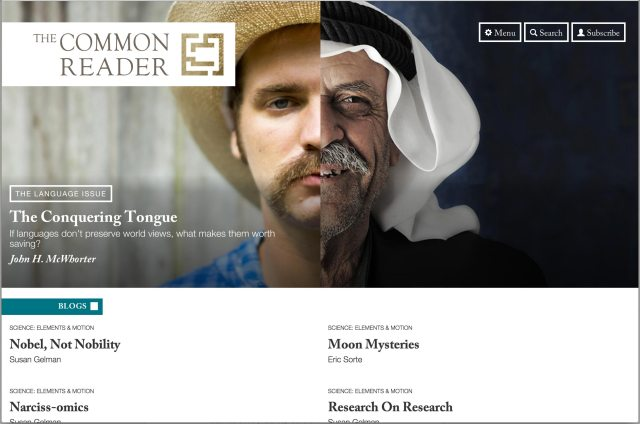 Screenshot of the Common Reader homepage