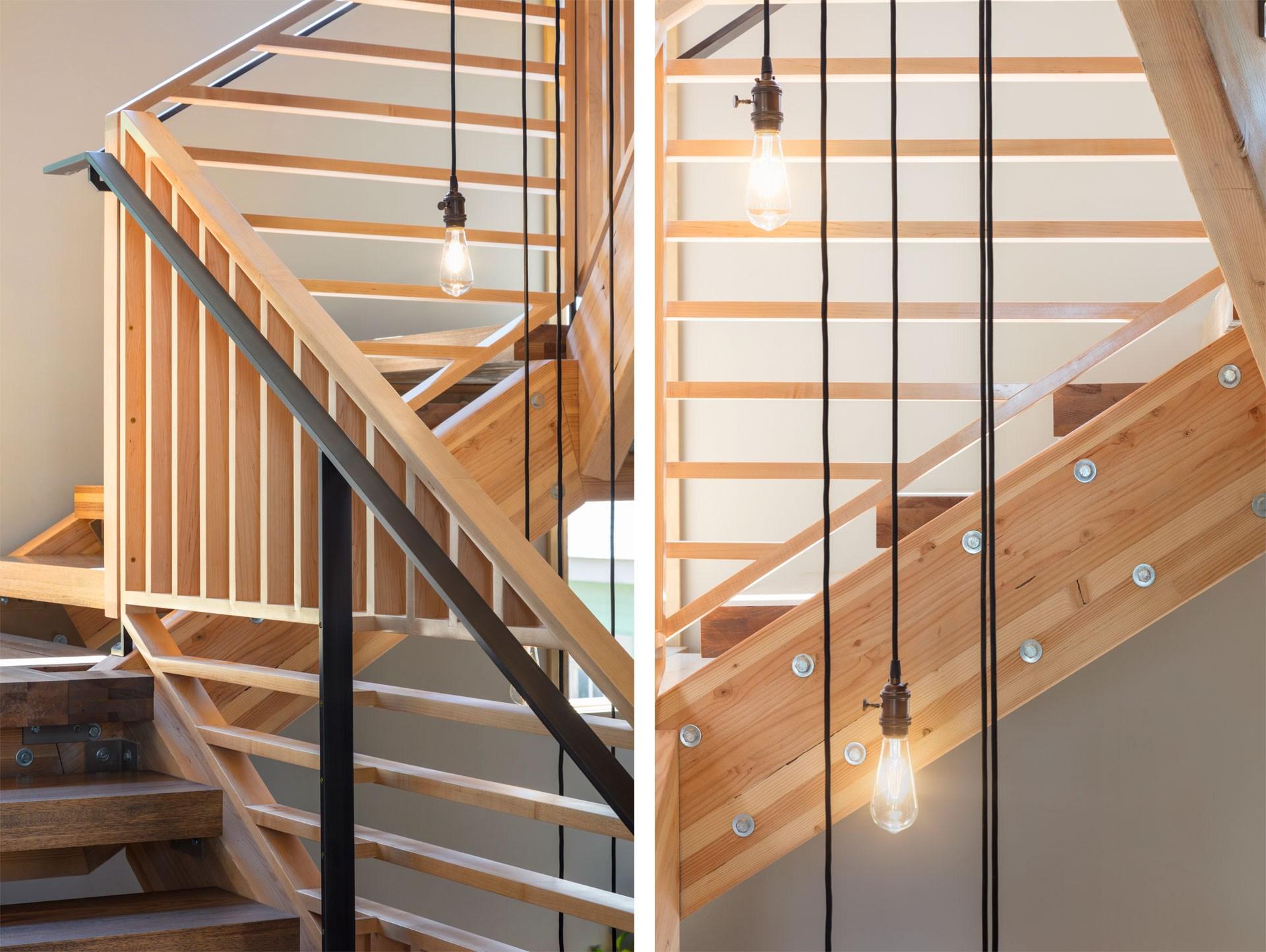 Quackenbush Modern Staircase Handrailing Joe Munson | Modern Stair Hand Railing | Stainless Steel | Decorative | Creative Outdoor Stair | Glass | Solid Wood