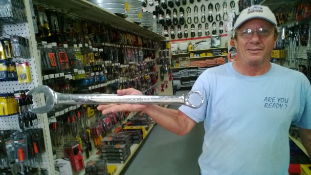 Big tools are needed for big jobs and this was the biggest in the hardware store near Spanish Lookout.