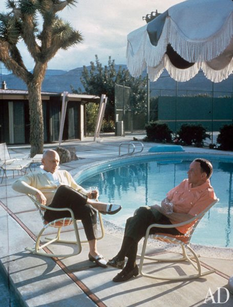 Frank at pool with Yul Brynner
