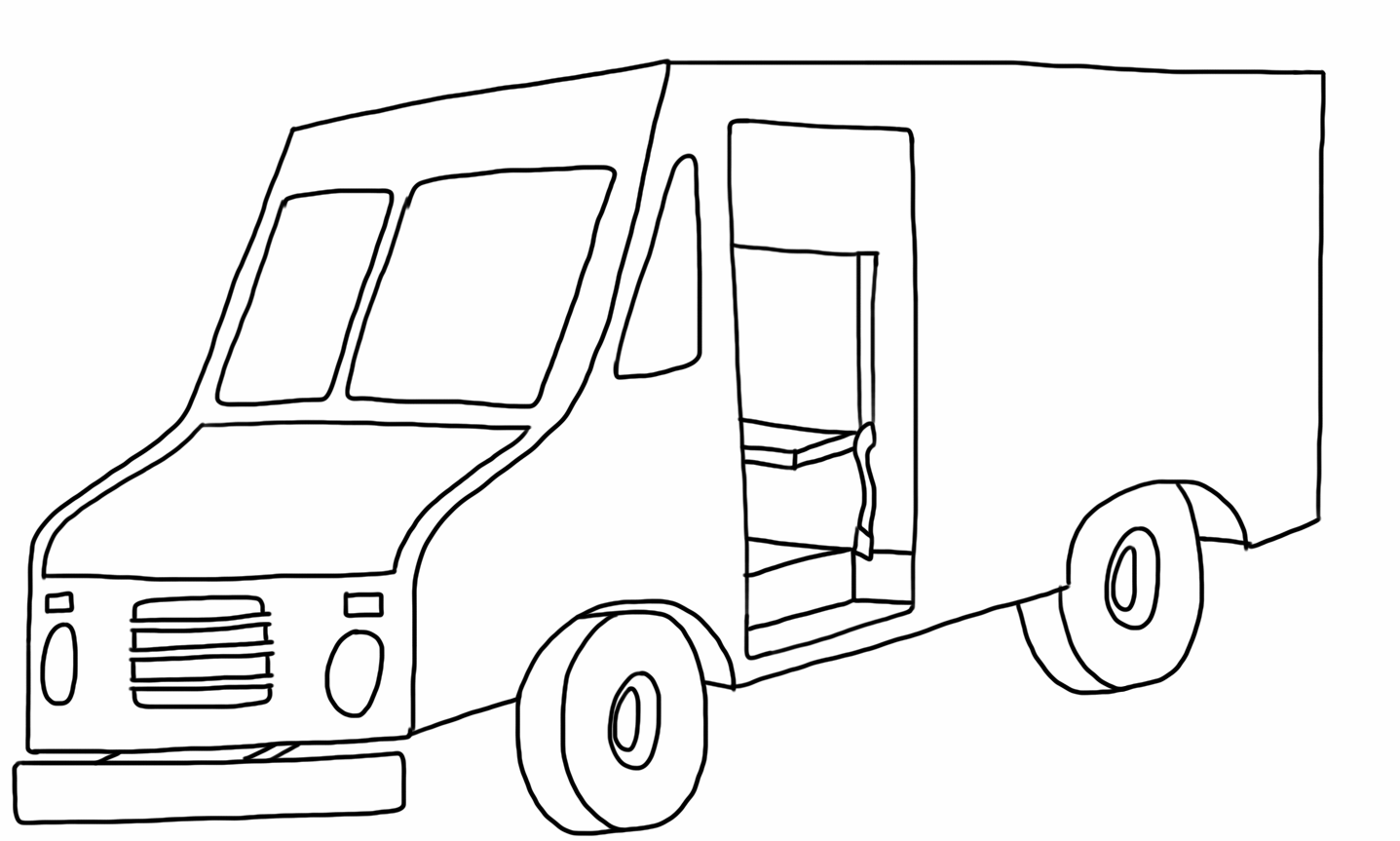 Postal Delivery Truck Coloring Page Coloring Pages