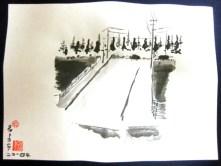 auf der Straße, 30 x 25 cm, Tusche auf Papier, 2014