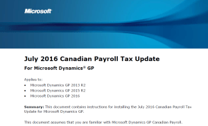 Mid-Year Tax Update Canadian Payroll for Dynamics GP