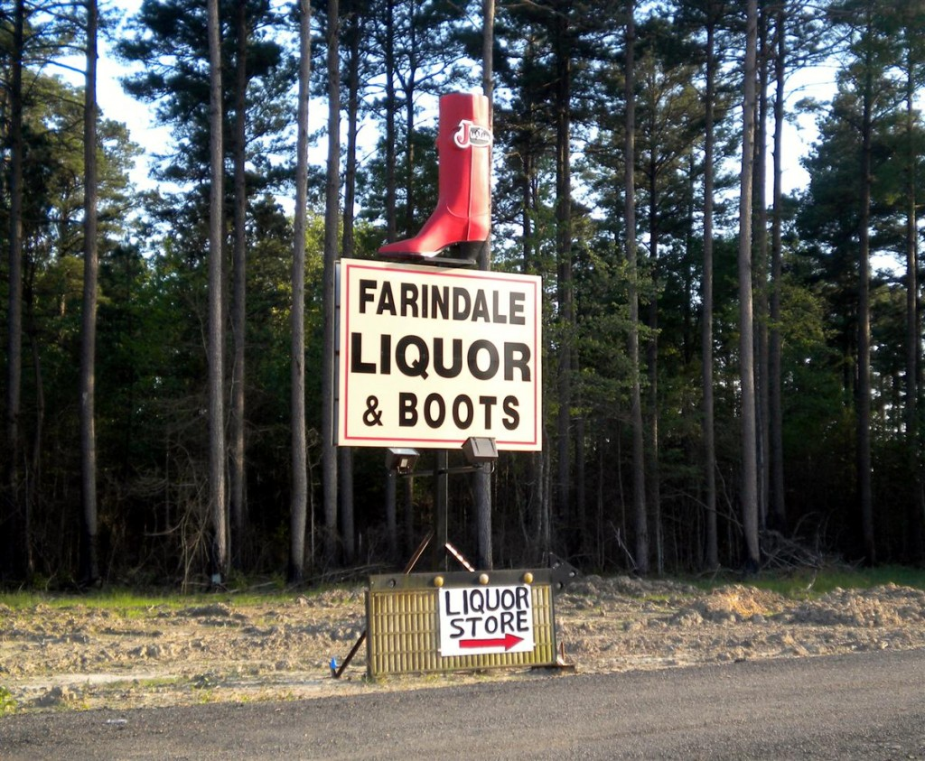 Liquor and Boots sign