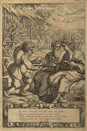 English: The slave Aesop serving two priests, ...