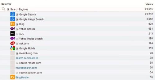 search engine referrals