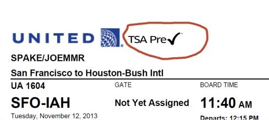 TSA Pre-Check Ticket