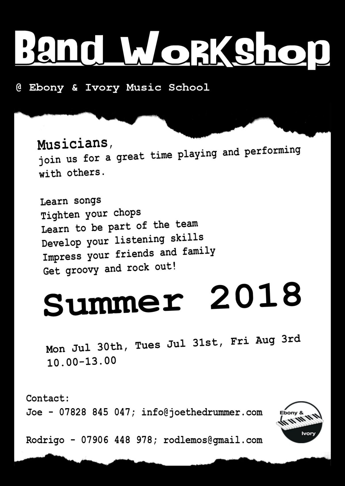 Rock Band Workshop Flyer With Date