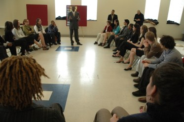 Mayor Mark Mallory taling to members of the Mayor's Youth Council at first meeting