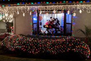 Christmas Yard Window Mickey and Minnie